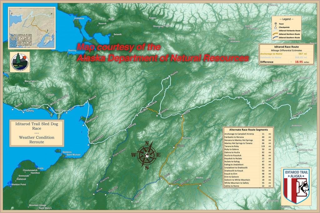 Die Route für das Iditarod 2015