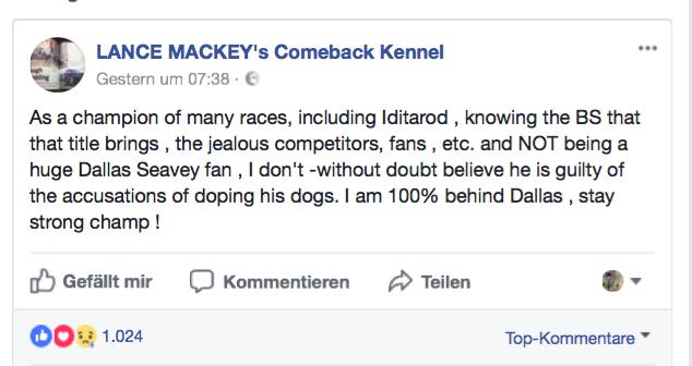 Statement von Lance Mackey zum Doping-Fall